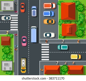 Top view the city with streets, buildings and trees. Town transportation construction industry urban crossroads  cars and houses.