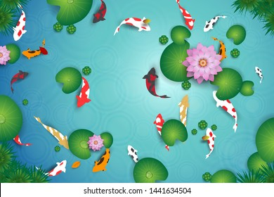 Top view of clean water lake with koi fishes. Vector design of pond with crap fishes, lotus, leaves and plant.