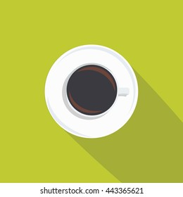 Top view of coffee cup vector illustration material design, Tea from up icon