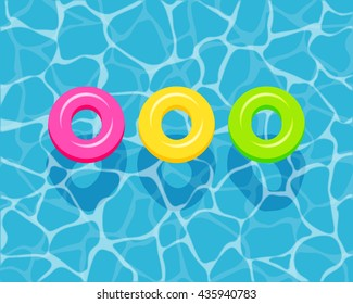 Top view of colorful swim rings on the blue water background. vector illustration.