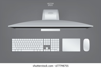 Top view of computer, keyboard, mouse and track pad. Mock up template for adding your content or digital business concept. Vector illustration.