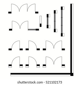 Top view, construction symbols used in architecture plans icons set, graphic design elements