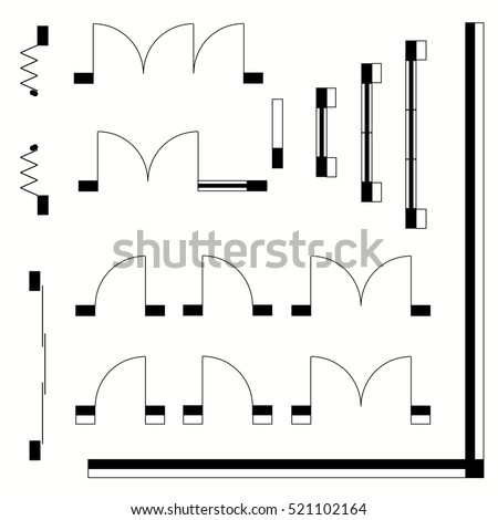 Top View Construction Symbols Used Architecture Stock Vector