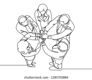 Top view continuous line drawing of young business group holding hand together. Business teamwork concept - single line drawing vector