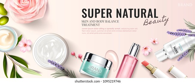 Top view of cosmetic products with ingredient plants in 3d illustration, light pink backgorund
