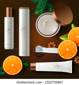 Top view of cosmetic products with ingredient plants, wood background, vector illustration.