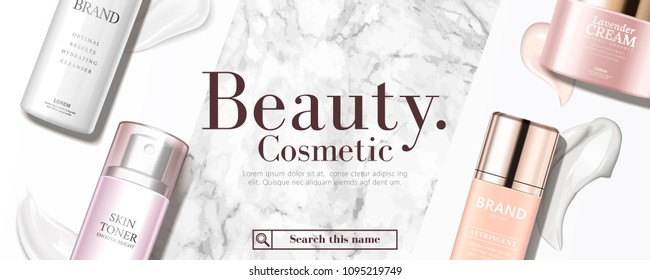 Top view of cosmetic products with its texture on marble stone and white background in 3d illustration