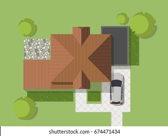 Top view of a country with house, courtyard, lawn and garage. Top view of a house. Vector illustration.