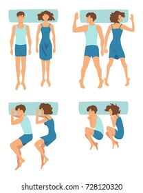 Top view of couple sleeping together in different funny positions. Vector collection in cartoon style. Woman and man sleep in bed illustration