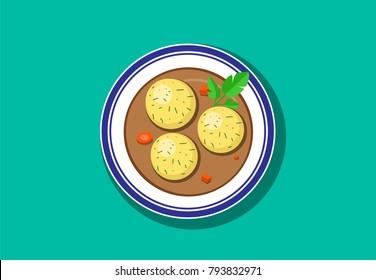 Top view, Delicious Matzoh ball soup, vector design