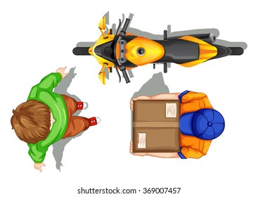 Top view of deliveryman and bike illustration