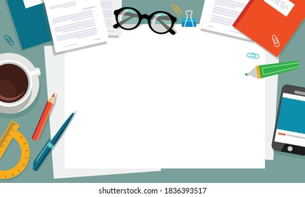 Top view of desktop background, phone, documents, coffee, folder, planner, glasses, paper, stationery. Workplace for business, study. Vector illustration.