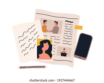 Top view of detective workplace with collected evidence and facts for crime investigation. Investigating process with photos, papers and newspaper. Colored flat vector illustration isolated on white