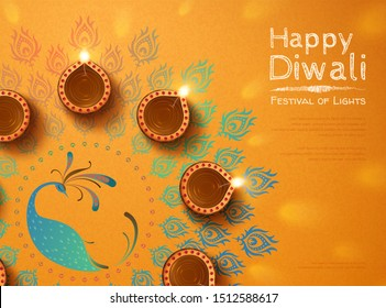 Top view of diwali design with oil lamps and peacock rangoli on chrome yellow background
