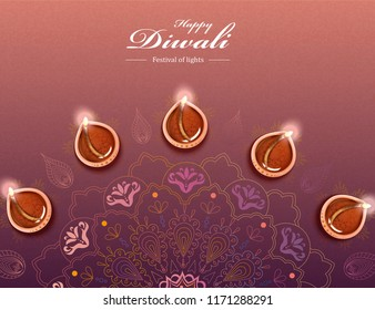 Top view of Diwali festival design with diya and rangoli, creative colourful floor designs made of rice floor