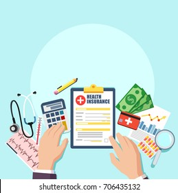 Top view of doctor or hospital business manager workplace. Medical stethoscope, pills, clipboard with patient card insurance contract, money. Vector illustration in flat style. Medical concept.