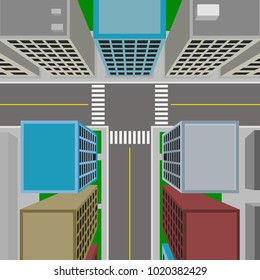 Top view of downtown, 3d vector city in flat design