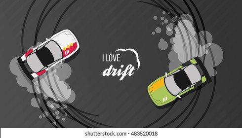 Top view of a drifting cars