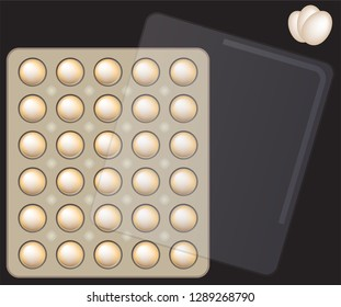 Top View of egg and paper tray with plastic cover vector and illustration