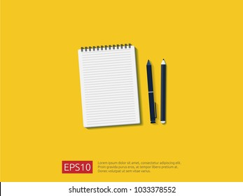 top view of empty blank notebook. note pad paper sheet on desk.  isolated notepad with pencil and pen on workdesk. vector illustration