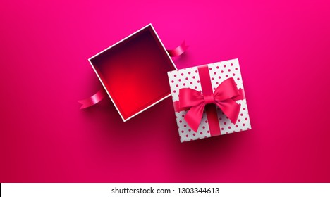 Top view of empty open gift box for Valentine's Day on red background.Promotion and shopping template or background for Love and Valentine's day concept.Vector illustration EPS10