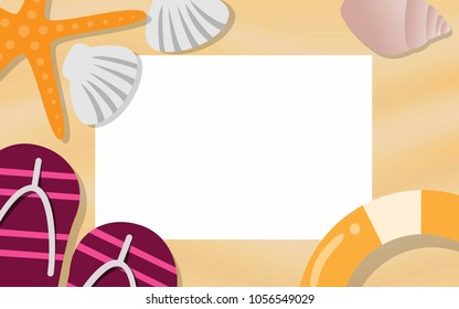 Top view of empty paper with copy space for text surrounded with starfish,sea shell,and life ring for tropical summer vacation promotion poster,advertisements,wallapaper,sale brochure