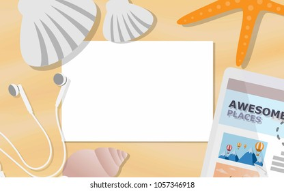 Top view of empty paper with copy space for text surrounded with starfish,sea shell,earphones for tropical summer promotion poster,advertisements,background,wallapaper,sale brochure