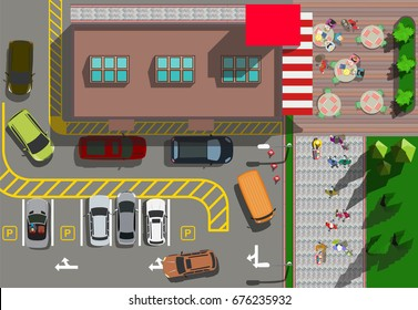 Top view fast food restaurant with cars parking
