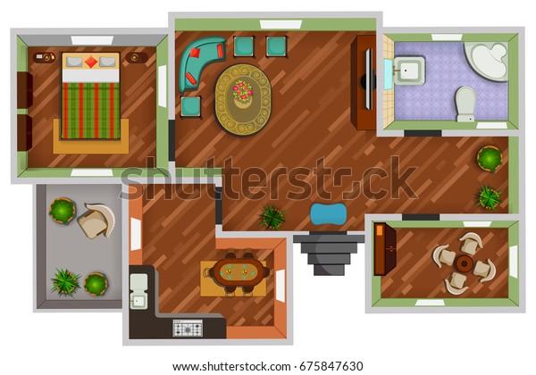 Top View Floor Plan Interior Design Stock Vector Royalty