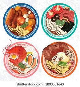Top view Food Menu Restaurant Cooking Pork Japanese carrot Seafood Plate Dinner Lunch Traditional Bowl Soup Dish Asian Meal Noodles Cuisine Ramen Tasty ingredient tofu hand drawing