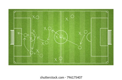 top view football field drawing a soccer game strategy.