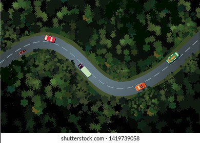 Top view of a forest road with car. Rural highway, beautiful landscape. Holidays travel vector cartoon illustration.