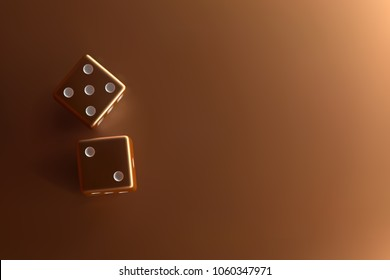 Top view of golden dice. Casino dice on gold background. Top view casino dice concept with place for text.