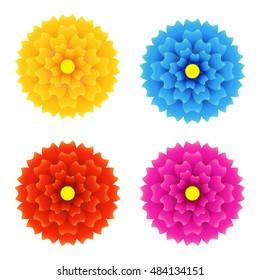 Top view Gradient round flower, vector ornament