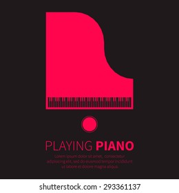Top view Grand piano and chair. Music instrument. Vector illustration