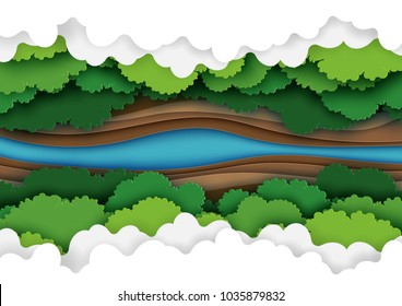 Top view of green forest canopy,river and clouds background.Nature and environment conservation creative idea concept of paper art style.Vector illustration.