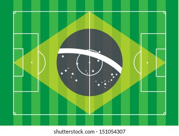 top view green grass line soccer,football field with Brazil flag, vector eps 10