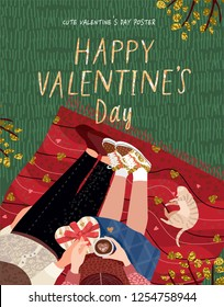 Top view of happy young couple, cute vector drawn card for Valentine's Day by February 14 , young family with pet cat sits on a plaid on the grass, drinks coffee and gives gifts