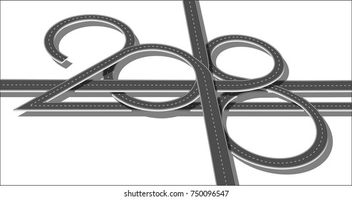 Top view highway with 2018 figures. Numbers of year in shape road. Vector illustration