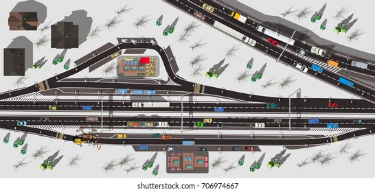 Top view highway with camping and fast food cafe in winter with white snow