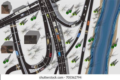 Top view highway near river in winter with grey snow
