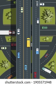 Top view of Highway road junctions.City transport top view .Landscape with trees top view.Cars, buses, trucks on the road .vector illustration.