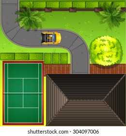 Top view of a house and surroundings  illustration