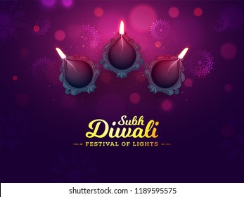Top view of illuminated oil lamps on blurred purple background. Poster or banner design for Shubh (Happy) Diwali celebration.
