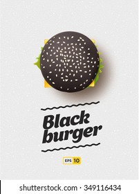 Top view illustration of black cheesburger on the grey background.