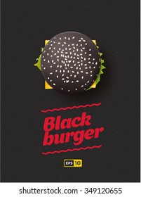 Top view illustration of black cheesburger on the dark background.