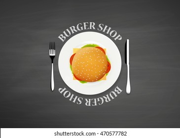 Top view illustration of burger. Burger Shop concept.