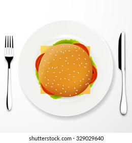 Top view illustration of cheeseburger