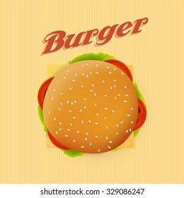 Top view illustration of cheeseburger, retro design