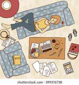 Top view illustration of a girl taking a nap on the couch, with laptop and notes next to her on the coffee table